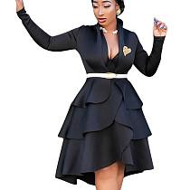 Черное модное платье с длинными рукавами и коленами QQM3896