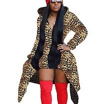 Leopard Print Women Long Sleeves Coat Zipper Hooded Casual Outerwear X9220