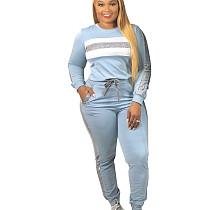 Light Blue Young Girls Fashion Sets Sequin Striped Patchwork Leisurewear CM638