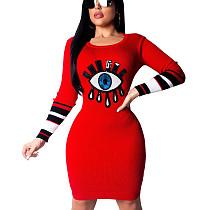Красный Онлайн-Оптом Круглый Воротник Bodycon Блесток Платье-Карандаш CM649