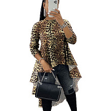 Leopard Print Lovely O Neck Casual Tops Irregular Printing Blouse X9219