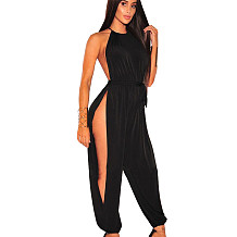 Sexy Women's Side Slit Sleeveless Pure Color Clubwear Long Jumpsuit JLX7006