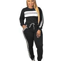 Black Young Girls Fashion Sets Sequin Striped Patchwork Leisurewear CM638