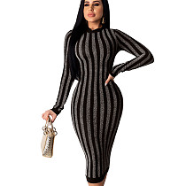 Silver Online Sale Slim Bodycon Stripe Women Dress For Wholesale QZ4092