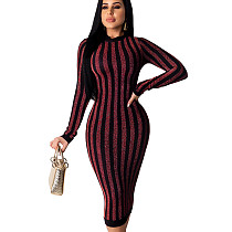 Wine Red Online Sale Slim Bodycon Stripe Women Dress For Wholesale QZ4092
