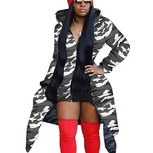 Camouflage Gray Printed Long Sleeves Coat Zipper Hooded Casual Outerwear X9220