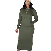 Army Green Warm Slim Bodycon Ribber Solid Color Hoodie Pencil Dress CM648