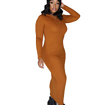 Orange Warm Slim Bodycon Ribber Solid Color Hoodie Pencil Dress CM648
