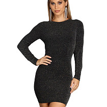 Fashion Women Pullover Slim Fitting Backless Short Dress JLX7007