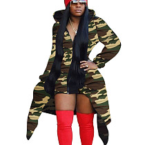 Camouflage Green Printed Long Sleeves Coat Zipper Hooded Casual Outerwear X9220