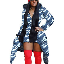 Camouflage Blue Printed Long Sleeves Coat Zipper Hooded Casual Outerwear X9220