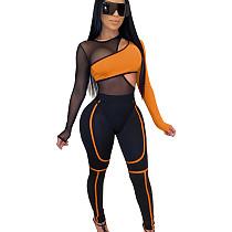 Orange Women Mesh Patchwork Asymmetric Jumpsuit Sexy Clubwear LA3168