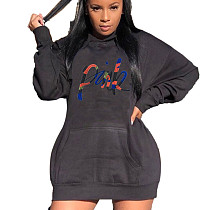 Black Thicken Long Sleeve Hoodie Dress For Daily Wear SDD9215