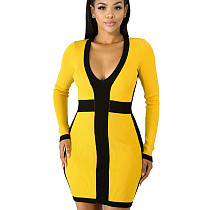 Wholesale Slim Bodycon Women Ribber V Neck Wrap Dress KF83