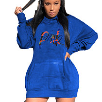 Blue Thicken Long Sleeve Hoodie Dress For Daily Wear SDD9215