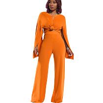 Orange Women's Loose Split Sleeves Tops Wide Leg Pants Sets HM5278