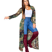 Long Style Camouflage Outerwear Cardigan Female Loose Coats SN3735