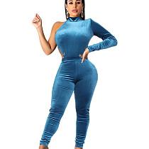 Blue Velvet Solid Mock Neck Single Sleeve Bodycon Club Jumpsuit 2pcs SH7160