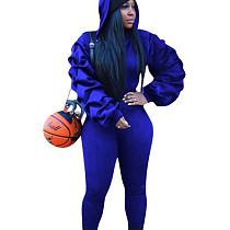 Blue Ruffle Sleeve Hoodie Slinky Pants Winter Solid Color Female Sets W8256