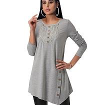 مريح أزرار رمادي ديكو المرأة طويلة الأكمام تي شيرت للملابس اليومية QQM3907