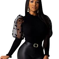 Black Polka Dot Mesh Patchwork Sleeves Round Neck Casual Tops QQM3925