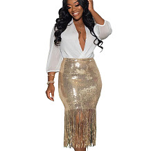 Fashion Bodycon Fringe Bottom Glitter Sequin Skirt For Women LD8656