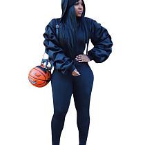 Black Ruffle Sleeve Hoodie Slinky Pants Winter Solid Color Female Sets W8256