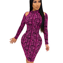 Rose Red Autumn Winter Bodycon Clothes Cold-Shoulder Letters Fashion Dress SH7161