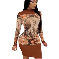 Brown Reasonable Price Figure Print Bodycon Round Collar Dress QQM3923