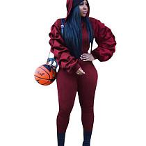 Wine Red Ruffle Sleeve Hoodie Slinky Pants Winter Solid Color Female Sets W8256
