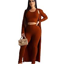 Purplish Red Crew Neck Tops Pencil Pants Long Sleeves Coat Casual Clubwear 3pcs HG5306