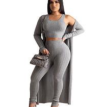 Gray Crew Neck Tops Pencil Pants Long Sleeves Coat Casual Clubwear 3pcs HG5306