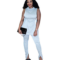 Gray Trendy Sleeveless Solid Color Side Bandage Club Party Outfits 2pcs LS6328