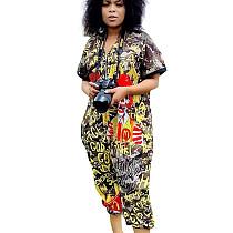 Camouflage Hot Sale Digital Printing Short Sleeve Zip Up Jumpsuit LS6329