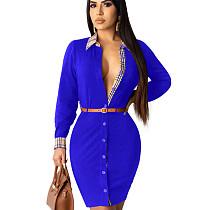 Blue Office Ladies Casual Button Down Long Sleeved Elegant Dress QQM3910