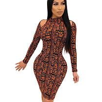 Orange Autumn Winter Bodycon Clothes Cold-Shoulder Letters Fashion Dress SH7161