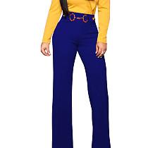 Blue Straight Down Wide Leg Self-Belt Pants F8255