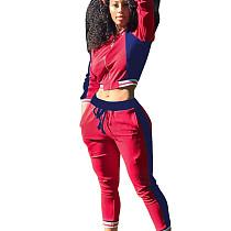Rote Frauen Farben Patchwork Reißverschluss Lang Casual Sport Jumpsuit 2pcs F8155