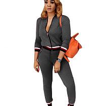 Gray Zipper Long Sleeve Coat Skinny Pants Casual Women Outfits F8141