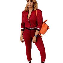 Wine Red Zipper Long Sleeve Coat Skinny Pants Casual Women Outfits F8141
