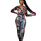 Blue New Arrival Female Adult V Neck Printed Bodycon Jumpsuit YZ2108