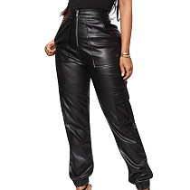 Black Female Pu Leather Zipper Mid Waist Casual Straight Pants F8257