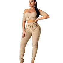 Kahaki Off Shoulder Bluse & High Wasit Hose SY8502