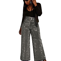 Silver New Design Shiny Belted Casual Wide Leg Pants Club Solid Bottoms F8252
