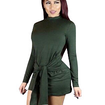 Green Round Neck Long Sleeve Wrap Knotted Mini Dress F8057