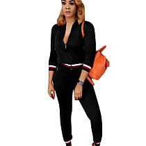 Black Zipper Long Sleeve Coat Skinny Pants Casual Women Outfits F8141
