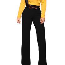 Black Straight Down Wide Leg Self-Belt Pants F8255