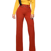 Orange Straight Down Wide Leg Self-Belt Pants F8255