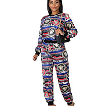 Wholesale Ladies Printed Outfits Long Sleeve Top Straight Pants YZ2103