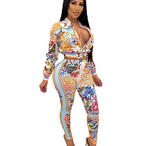 Zipper Coat Skinny Pants Female Casual Multicolor Printed Outfits YZ1999